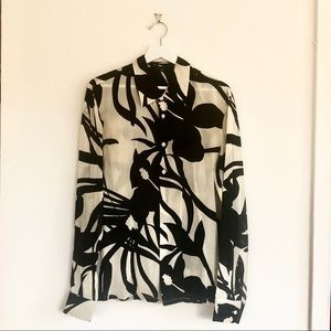 Theory Silk Stretch Long Sleeve Button Down Blouse